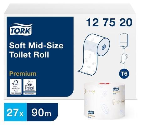 Бумага туалетная Tork Premium T6 2сл бел 100%цел втул 90м 27рул/уп 127520  Tork