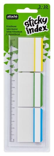 Клейкие закладки пласт. 3цв.по 10л. 37ммх50 Attache Selection + линейка 12с  Attache