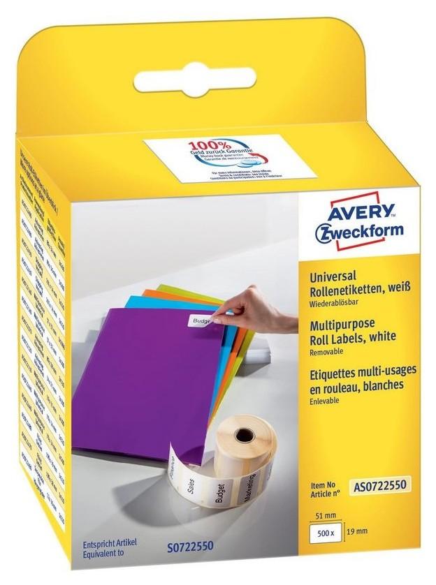 Этикет-лента Avery Zweckform As0722550 51х19мм 500шт для Dymo  Avery Zweckform