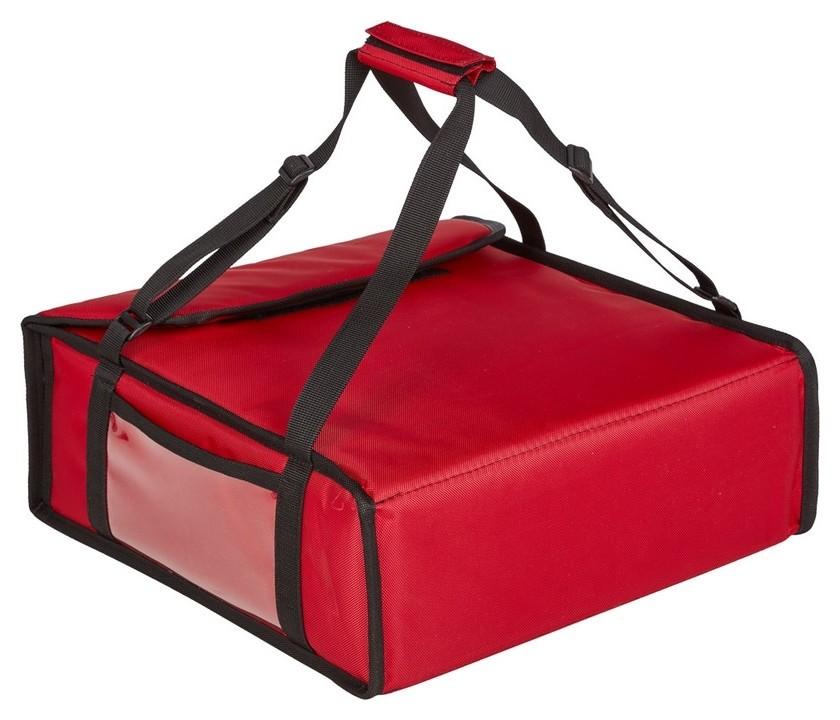 Термосумка для пиццы ткань красная 42х42х15 (На 3 пиццы)  NNB