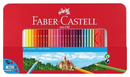 Карандаши цветные Faber-castell, 60цв.+2 ч/г кар.ластик,точилка, 115894  Faber-castell