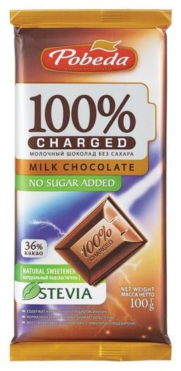 Шоколад победа вкуса Charged молочный без добавления сахара 36% какао, 100г  Победа вкуса