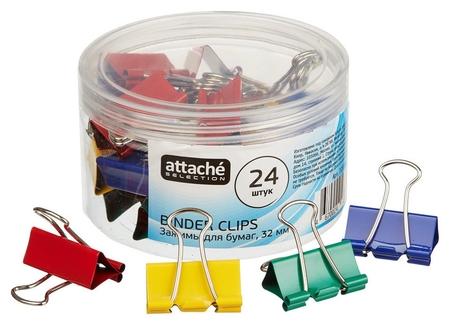 Зажим для бумаг Attache Selection, 32мм, 24 шт, цветные, пласт.уп  Attache