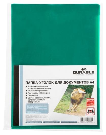 Папка уголок Durable 219705, А4, 180мкм, 10шт/уп,зеленый  Durable