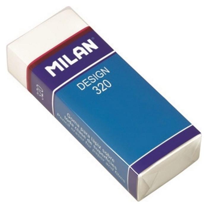 Ластик пластиковый Milan Design 320, карт. держатель, белый  Milan