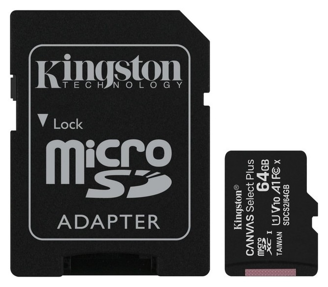 Карта памяти Kingston Canvas Select Plus Microsdxc Uhs-i +ад, Sdcs2/64gb  Kingston