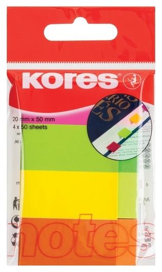 Клейкие закладки бум. 4цв.по 50л. неон 20х50мм Strips Kores 45104  Kores
