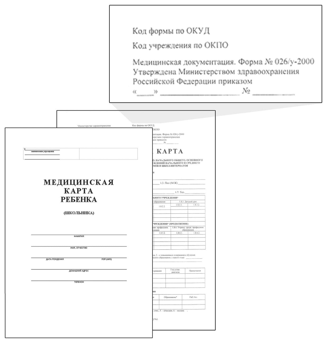 Карта медицинская ребенка(Школьника),14л,ф.№026/у-2000 NNB