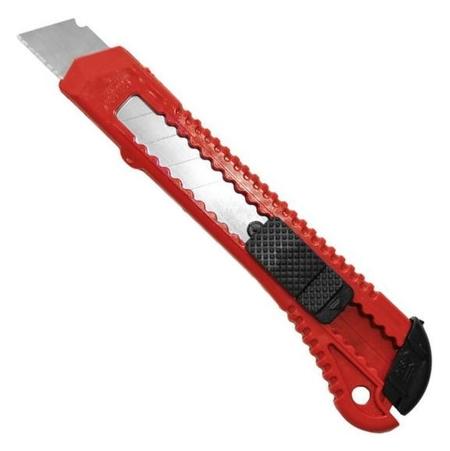 Нож канцелярский 18 мм attache с фиксатором, полибег, цв.красный  Attache