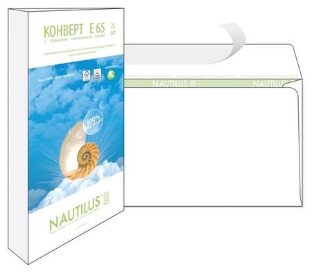 Конверты Nautilus, эко,е65(110х220мм),стрип, 80г/м2, 25шт/уп  Bong