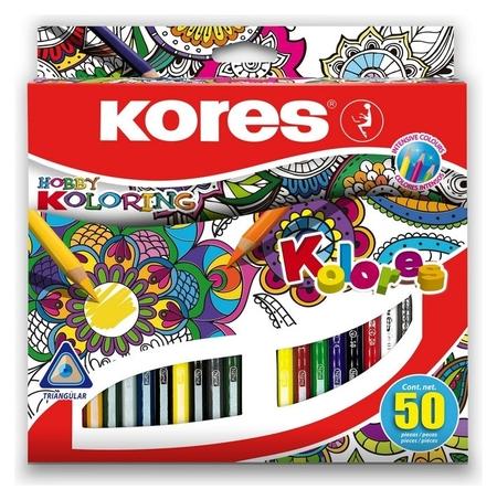 Карандаши цветные 50 цв. 3-гран.kores 93350  Kores