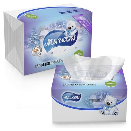 Салфетки мягкоff 2-сл. 22х15,5 белые V-слож 100шт./уп с клапаном  Мягкоff