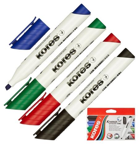 Маркер для досок Kores набор 4 цв. 3-5 мм скошенный наконечник 20845  Kores