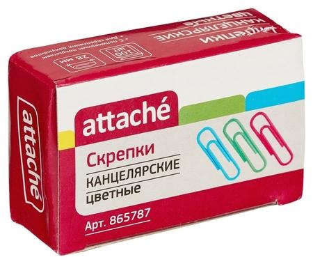 Скрепки 28 мм 100 шт./уп. Attache цветные, полимерное покрытие, карт.кор  Attache