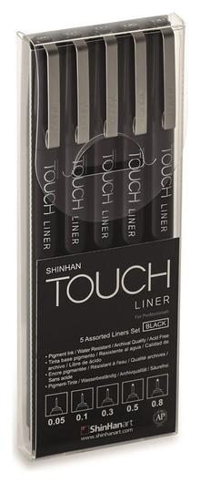 Набор линеровtouchliner5шт(0.05мм-0.8мм)черный, 4100005  Touch