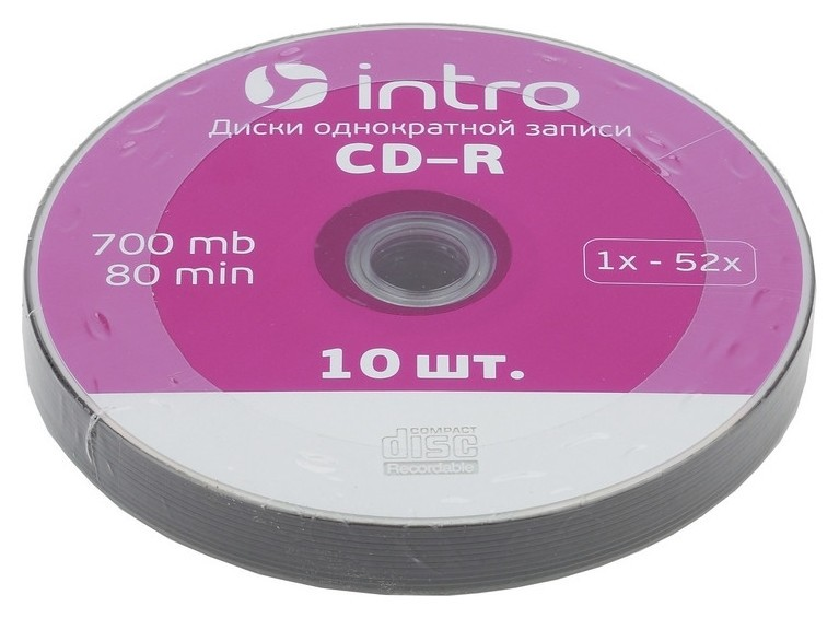 Носители информации Cd-r, 52x, Intro, Shrink/10, б0016204  Intro