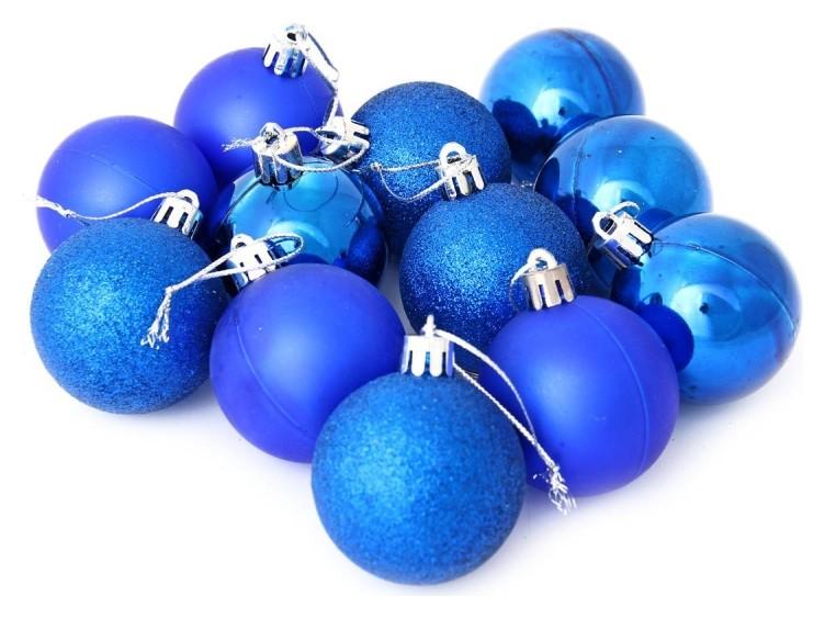 Набор из 12-ти пластиковых шаров, 5 см, цвет-синий 45246  NNB
