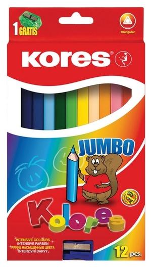 Карандаши цветные 12цв 3-гран,точилка Kores Jumbo 93512.01  Kores