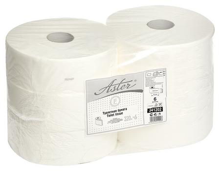Бумага туалетная для дисп Aster 2сл бел 100%цел втул 320м 6 рул/уп 341202  Aster