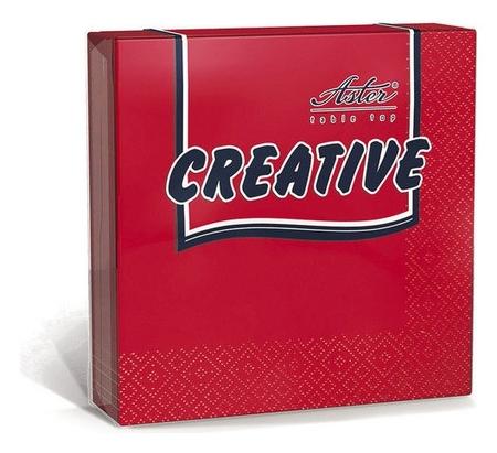 Салфетки Aster Creative 3сл.24х24 красные 20шт./уп.  Aster