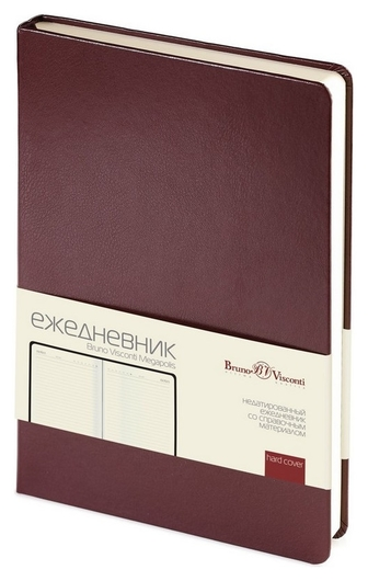 Ежедневник недатированный корич,а5,145х215мм,160л,br.v.megapolis  Bruno Visconti