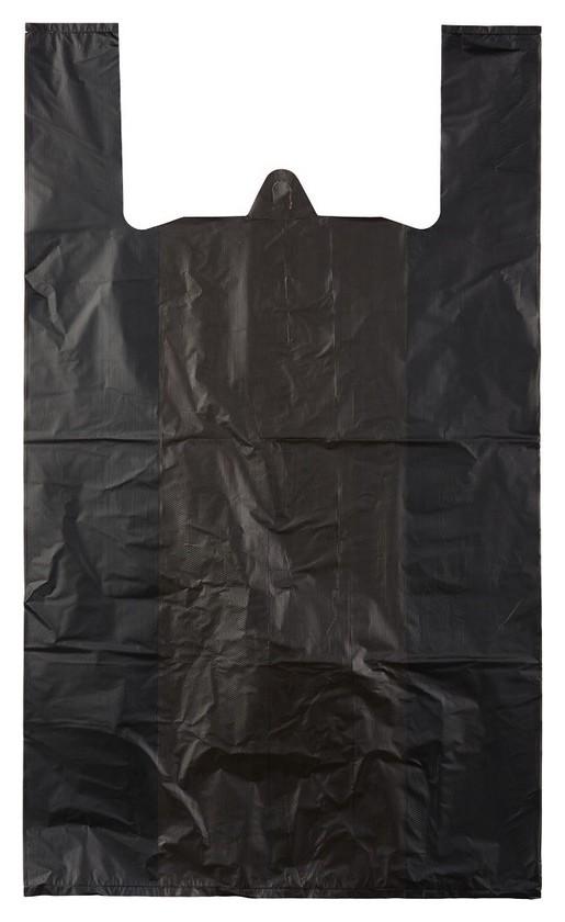 Пакет-майка усиленный,пнд, 40+18x70см,черный,30мкм,50 шт./уп  Знак качества