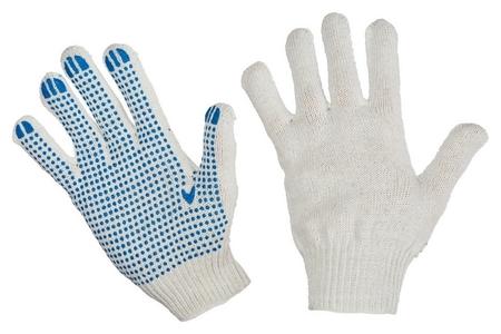 Перчатки защитные трикотажные с ПВХ точка 4 нити 42г 10класс 10пар/уп  NNB