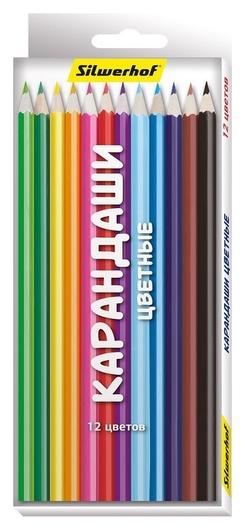 Карандаши цветные 12цв, 6-гран., дерев.корп., 418225, эконом  NNB
