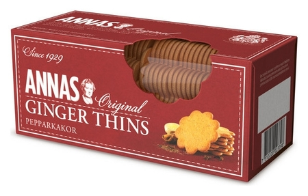 Печенье Annas Ginger Thins тонкое имбирное, 150г  Annas