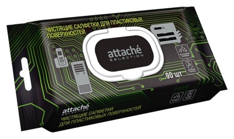 Салфетки Attache Selection для чистки пласт. поверх., с клапаном, 90 шт  Attache