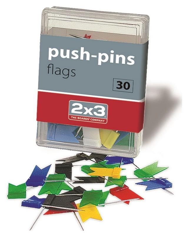 Кнопки для пробковых досок силовые флажки 2x3, 30 шт/пласт.уп. A003  2x3