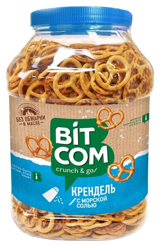 Сушки крендель с морской солью Bitcom банка 450 г  Bitcom