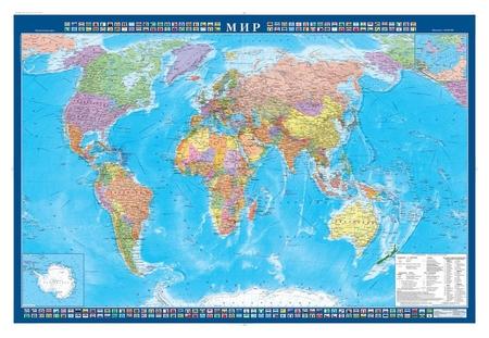 Настенная карта Мир политическая 1:34млн.,1,0х0,7м.  Атлас принт