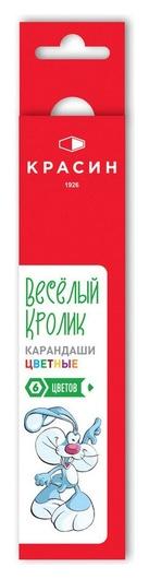 Карандаши цветные красин веселый кролик 6цв 6-гран 177мм  Красин