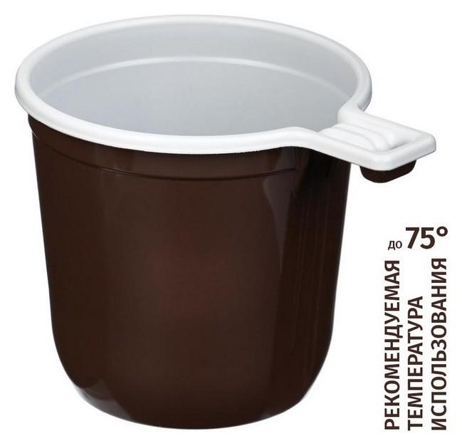 Чашка одноразовая кофейная 200мл, двухцветная, бюджет, комус ПП 50шт/уп  Комус
