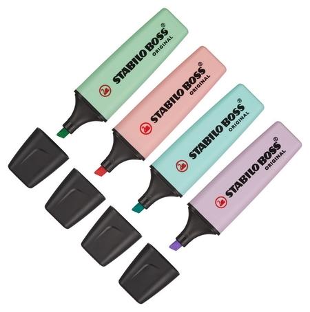 Набор выделителей текста Stabilo Boss Original Pastel 70/4-2 4цв/уп 2-5мм  Stabilo