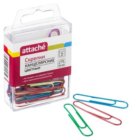 Скрепки Attache цветные, 50 мм, овальные, 40 шт./уп.: полимер ев/подв  Attache