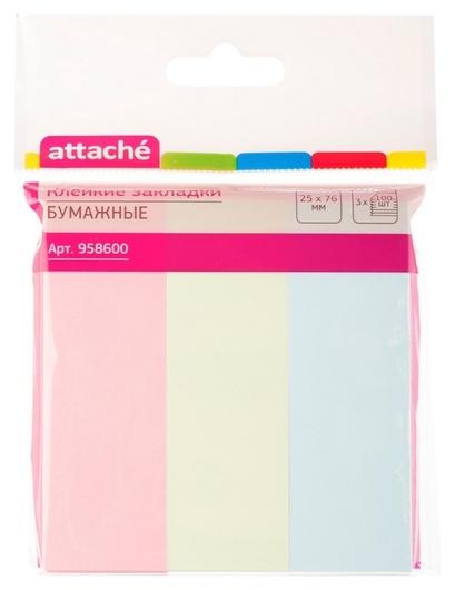 Клейкие закладки бумажные 3цв.по 100л. 25ммх76 Attache Attache