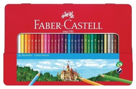 Карандаши цветные Faber-castell, 36цв., заточен., метал. кор., 115886  Faber-castell
