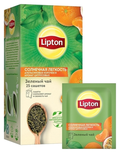Чай Lipton солнечная легкость с цитрус. и апельсин. корочк. зел., 25пак/уп  Lipton