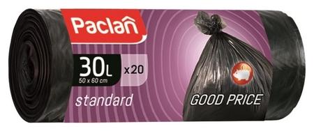 Мешки для мусора ПНД 30л 7,3мкм 20шт/рул черные 45x55см Paclan Standart  Paclan