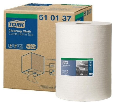 Материал протирочный нетканый Tork W1/w2/w3 400лx1рул/кор, белый 510137 Tork