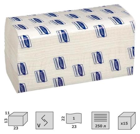 Полотенца бумажные для дисп. Luscan Professional Vслож1слбелцел250л15пач/уп  Luscan