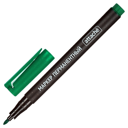 Маркер перманентный Attache зеленый 1 мм.  Attache