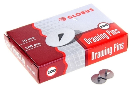 Кнопки металлические Globus, 10 мм, 100 шт.в уп. карт/коробка Globus