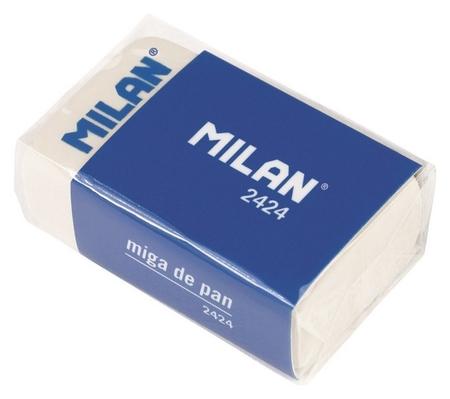 Ластик каучуковый Milan 2424 для стирания графита, для рисования, белый  Milan