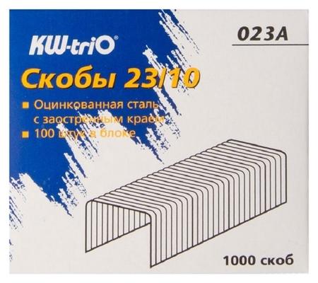 Скобы для степлера N23/10 Kw-trio 023a, оцинкованные 1000 шт в уп Kw-trio