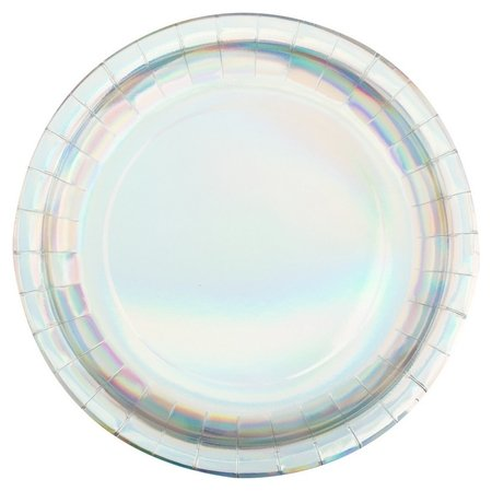 Тарелка бумажная радужные фольгированные 23см 6шт/уп арт.6058883