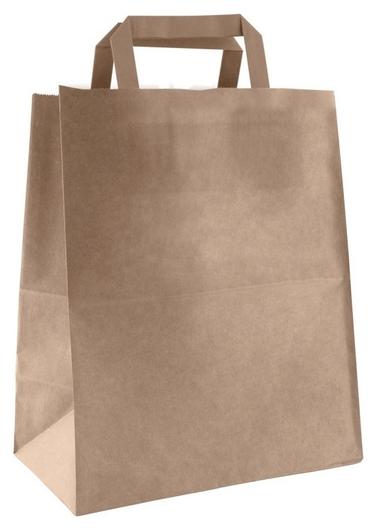 Пакет бумажный с плоскими ручками, крафт, 240x140x280мм 300 шт/уп  NNB