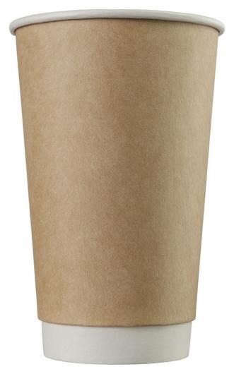 Стакан одноразовый бум двухслойный D-90мм 400мл коричневый (25шт/уп)  Комус